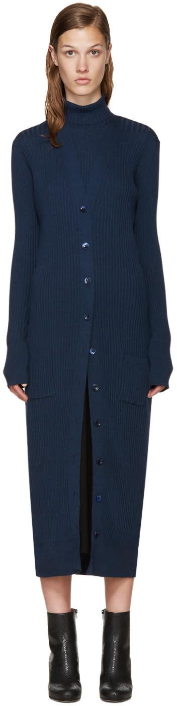 Maison Margiela Navy Long Wool Cardigan