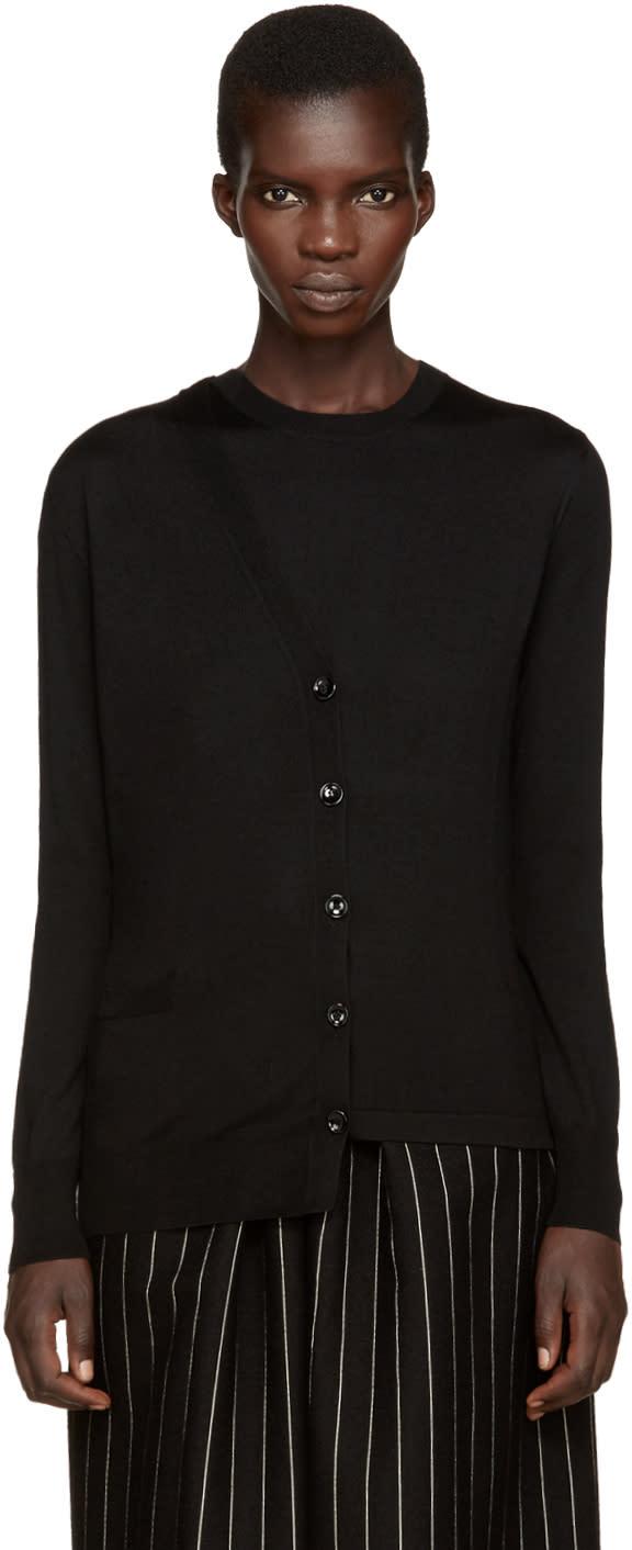 Maison Margiela Black Asymmetric Trompe Loeil Sweater