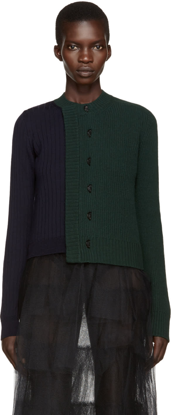 Maison Margiela Green and Navy Wool Cardigan