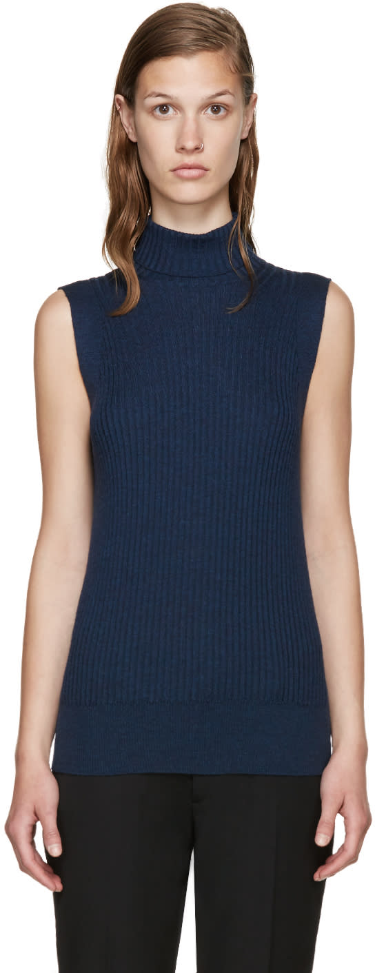 Maison Margiela Navy Sleeveless Turtleneck