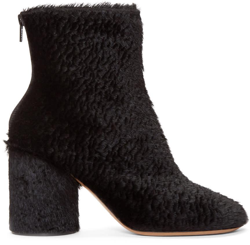 Maison Margiela Black Embossed Calf-hair Boots