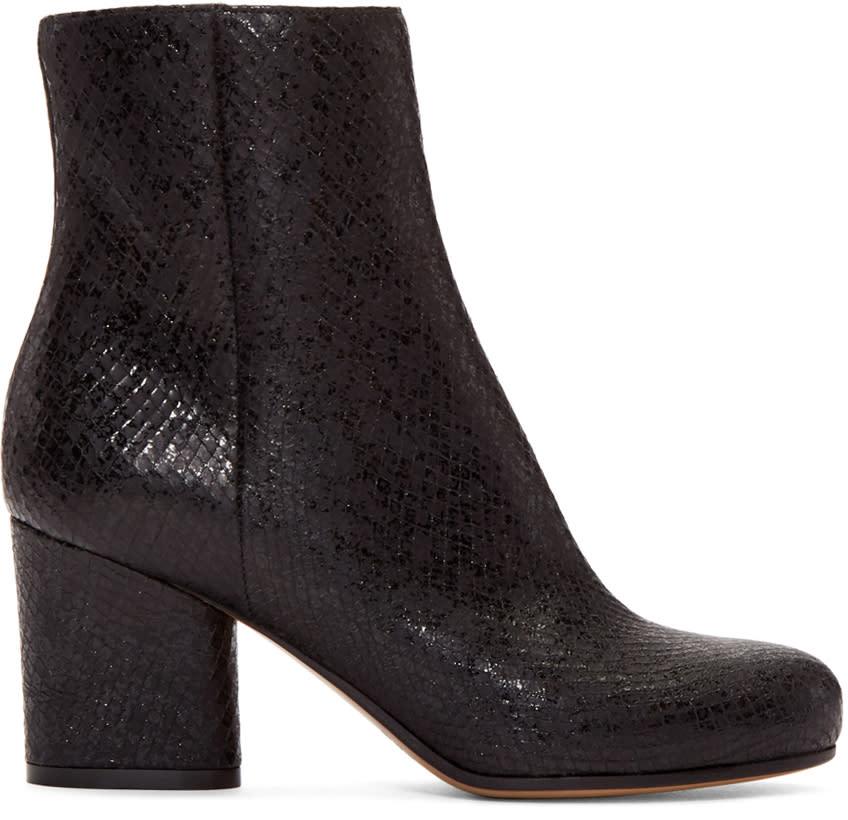 Maison Margiela Black Snake-embossed Trunk Boots