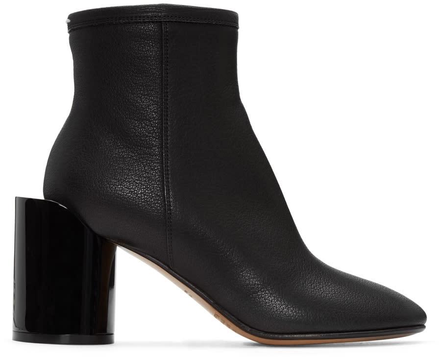 Maison Margiela Black Leather Cut-out Boots