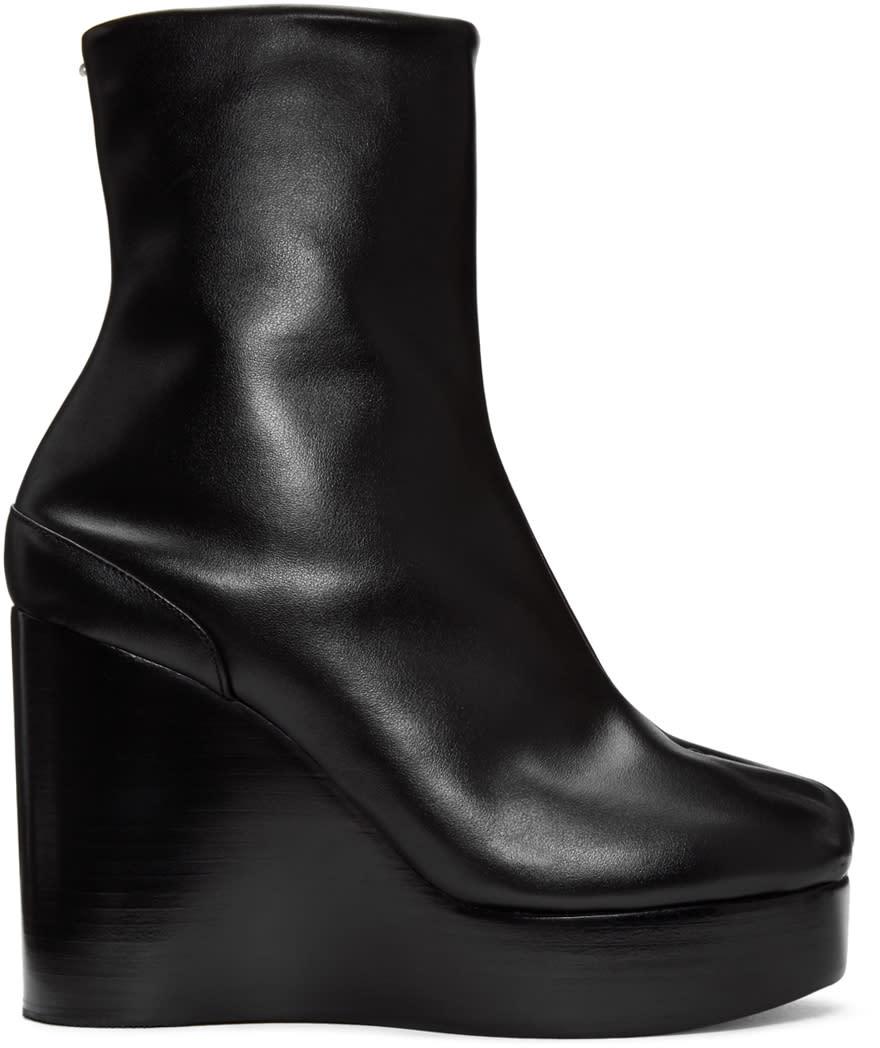 Maison Margiela Black Wedge Tabi Boots