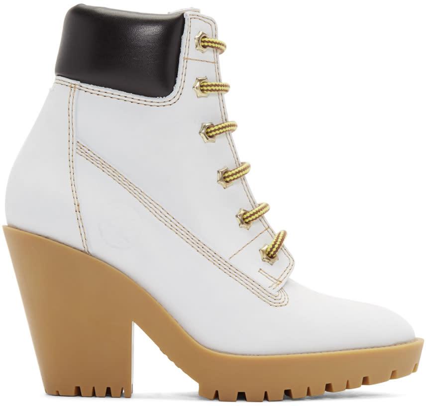 Maison Margiela Off-white Suede Lace-up Boots