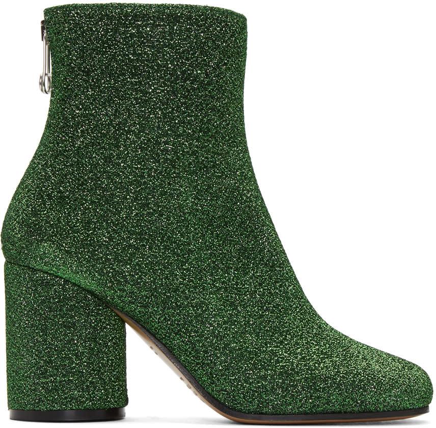 Maison Margiela Green Metallic Ankle Boots