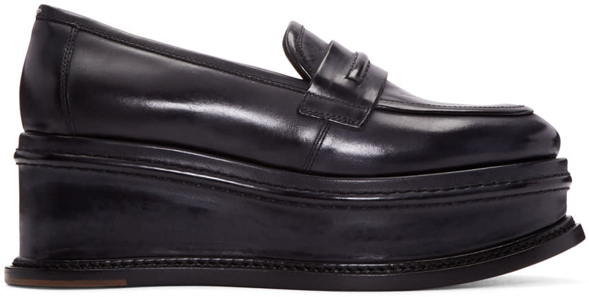 Maison-Margiela-Black-Leather-Platform-Loafers