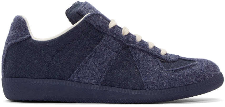 Maison Margiela Navy Felted Replica Sneakers