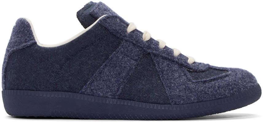 Maison Margiela Navy Felted Replica Sneakers