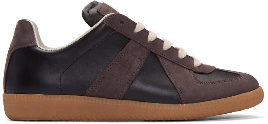 Maison Margiela Black Calfskin and Suede Replica Sneakers
