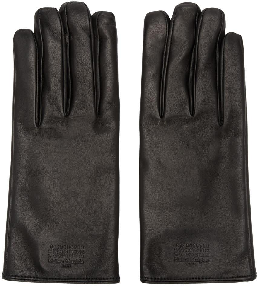 Maison Margiela Black Leather Logo Gloves