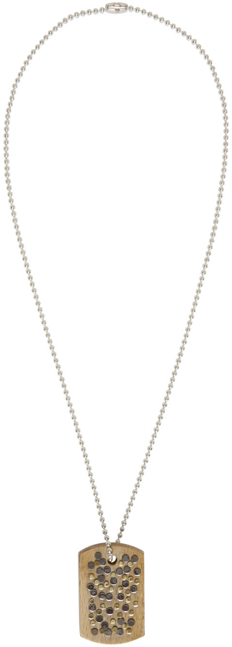 Maison Margiela Silver and Wood Nail Necklace