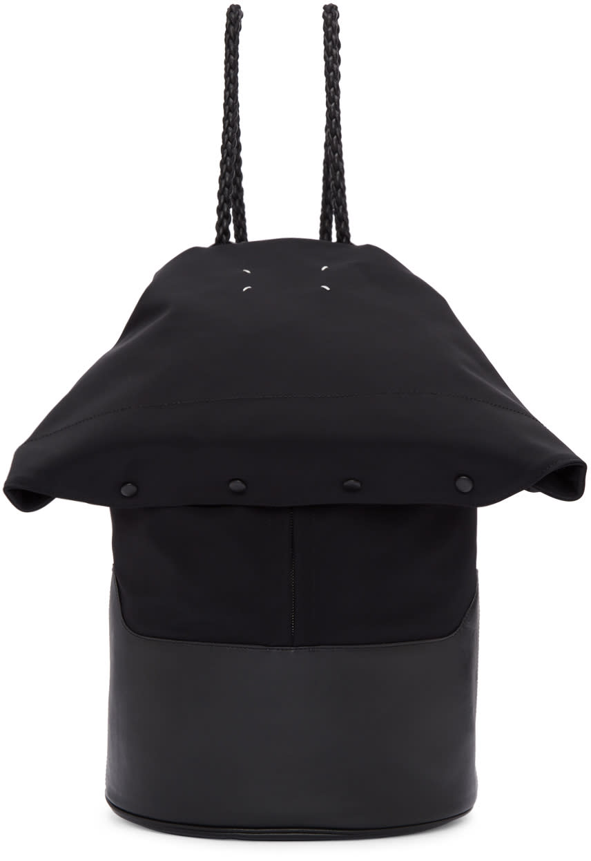 Maison Margiela ブラック フォールドオーバー バックパック