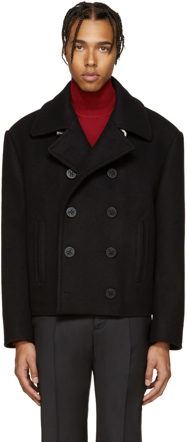 Maison Margiela Black Wool Peacoat