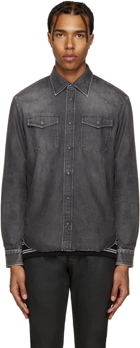 ブラック デニム フェード シャツ