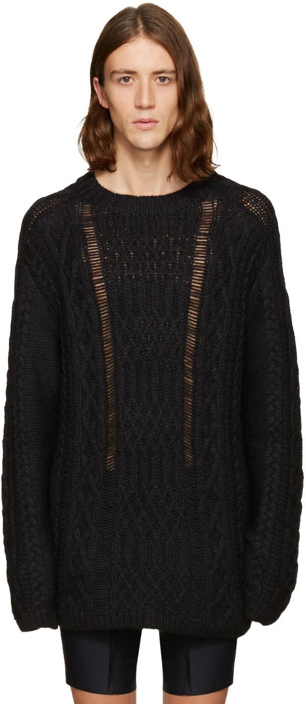 ブラック オーバーサイズ ケーブル ニット セーター