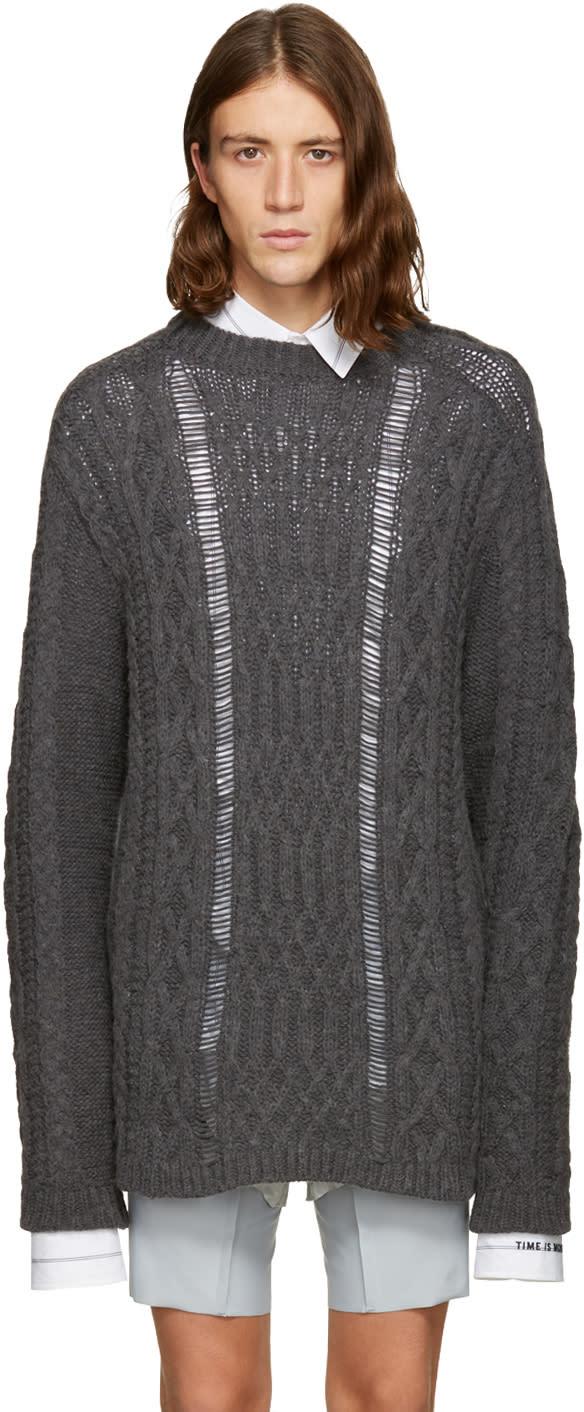 グレー オーバーサイズ ケーブル ニット セーター