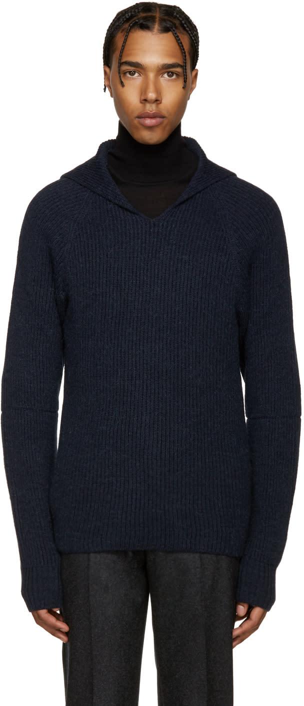 ネイビー フード セーター