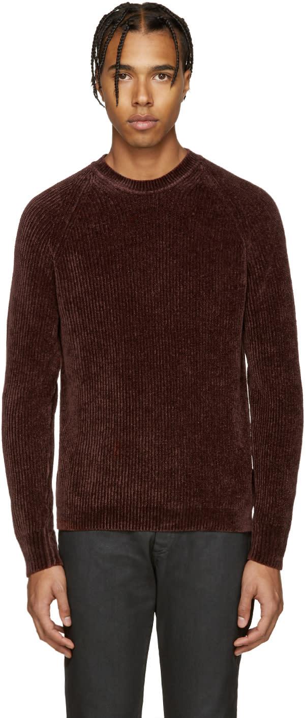 ブラウン リブ編みセーター