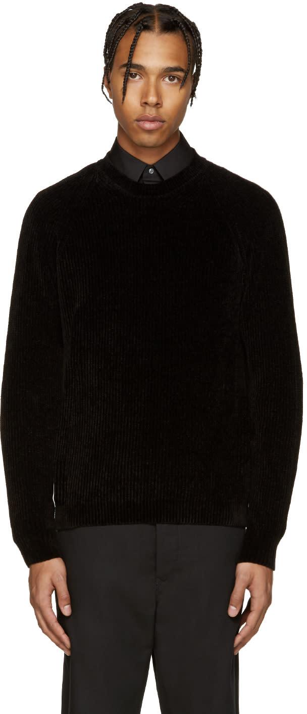ブラック リブ編みセーター
