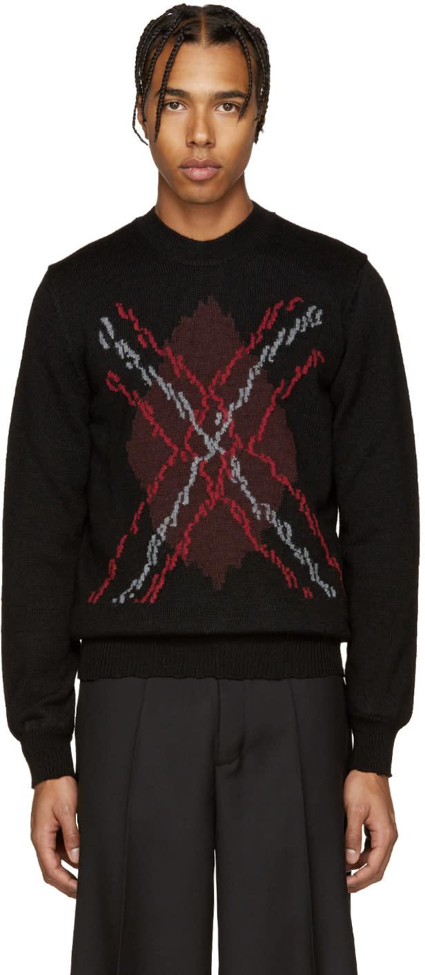 ブラック and レッド アーガイル セーター