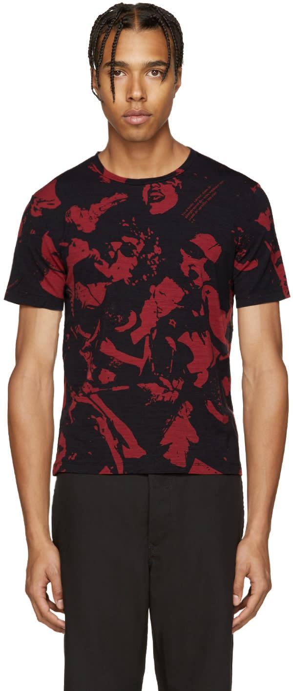 ブラック and レッド ミュージック Tシャツ