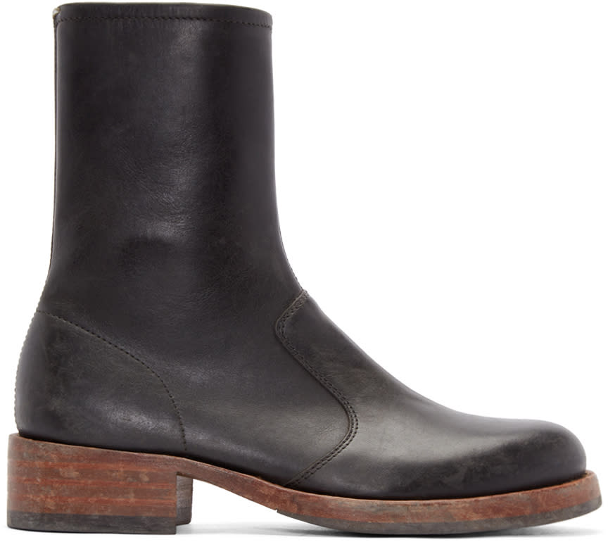 Maison Margiela Black Leather Replica Boots