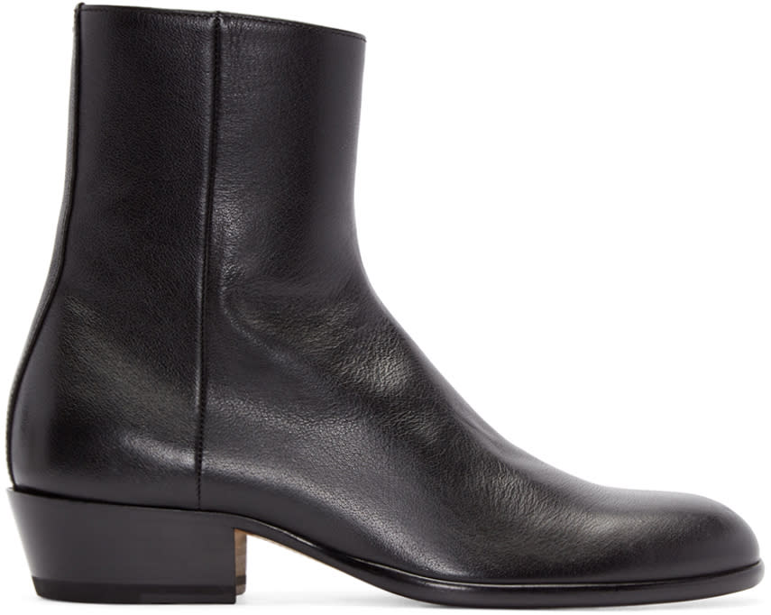 Maison Margiela Black Leather Tuxedo Boots