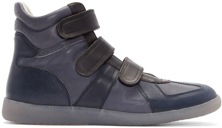 7f8a1aa28e3d Maison Margiela Navy Triple Velcro High top Sneakers