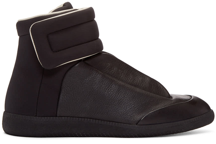 Maison Margiela Black Leather and Nylon Future High-top Sneakers