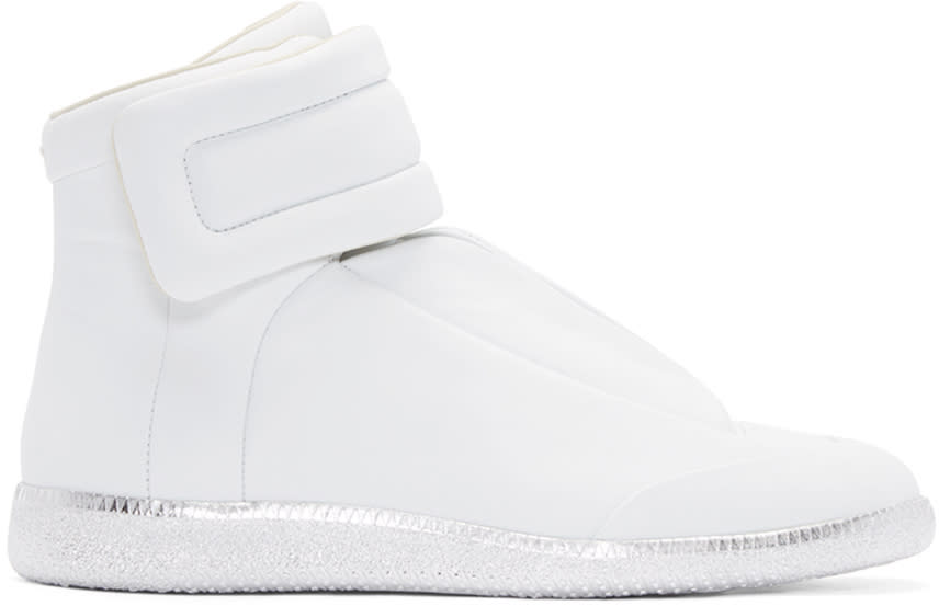 Maison Margiela White and Silver Future High-top Sneakers