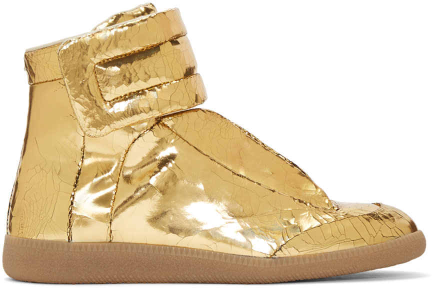 Maison Margiela Gold Cracked Future High-top Sneakers