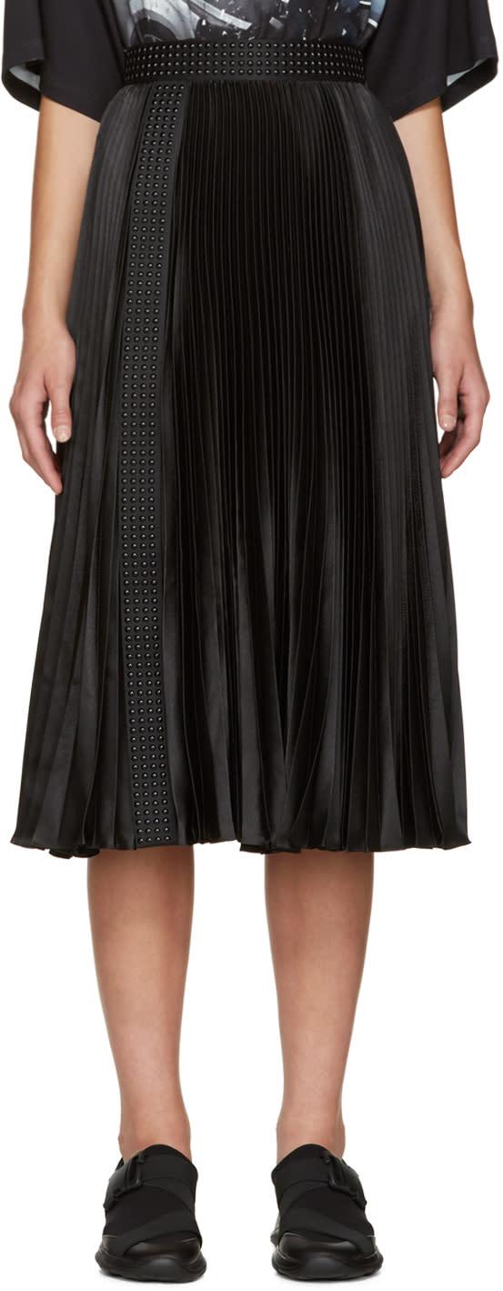 Christopher Kane Black Satin Pleated Skirt
