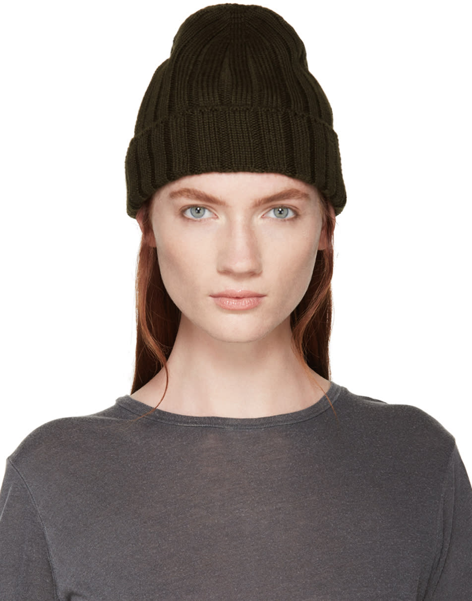 Mm6 Maison Margiela Green Ribbed Beanie