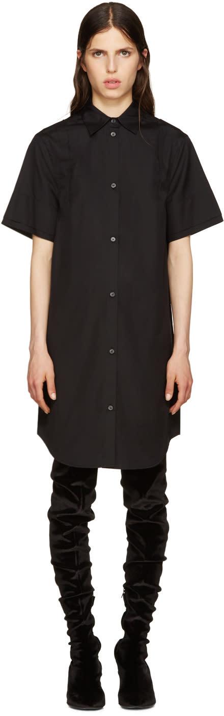 Mm6 Maison Margiela Black Poplin Shirt Dress
