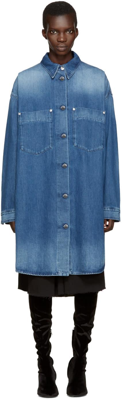 Mm6 Maison Margiela Blue Long Denim Jacket