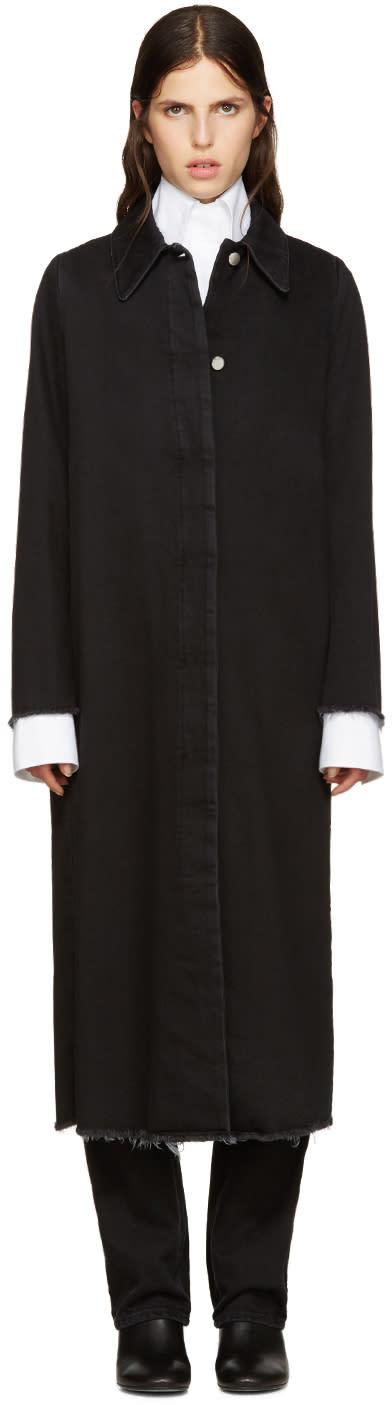 Mm6 Maison Margiela Black Long Denim Coat