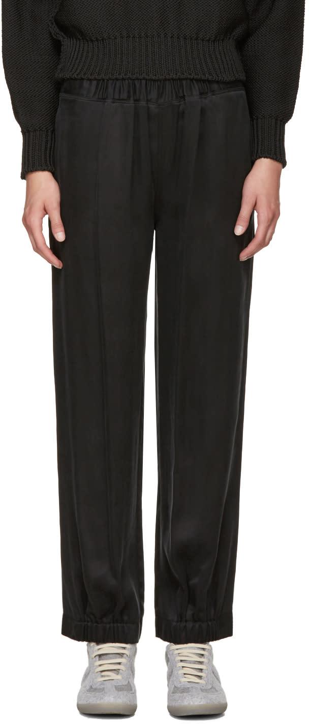 Mm6 Maison Margiela Black Washed Satin Lounge Pants