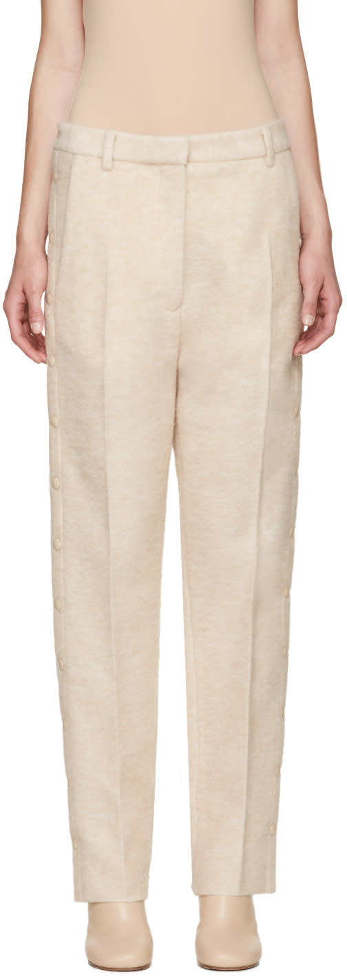 Image of Mm6 Maison Margiela Beige Wool Snap Trousers
