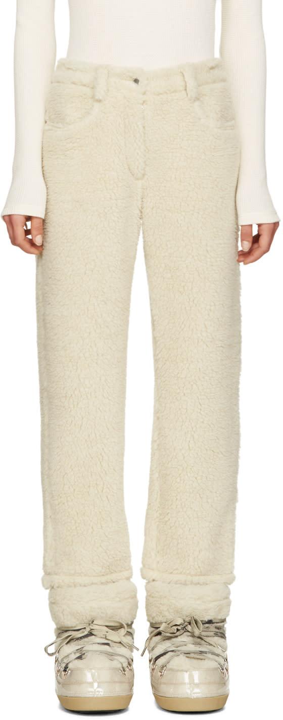 Mm6 Maison Margiela Ecru Faux-shearling Trousers