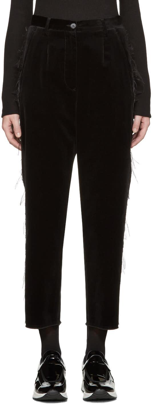Mm6 Maison Margiela Black Fringed Velvet Trousers