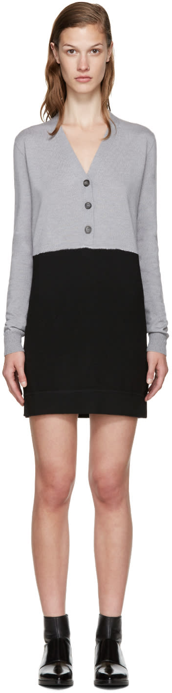 Mm6 Maison Margiela Grey and Black Wool Dress
