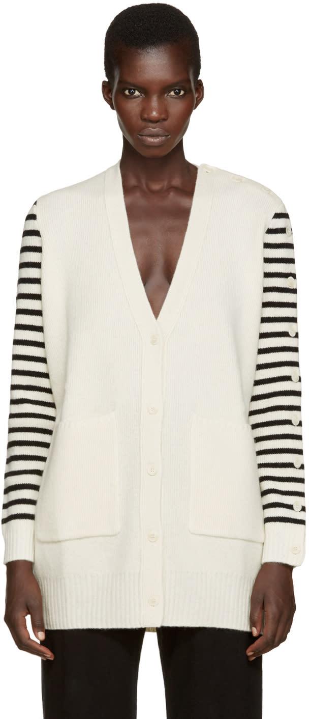Mm6 Maison Margiela Ivory Wool Striped Cardigan