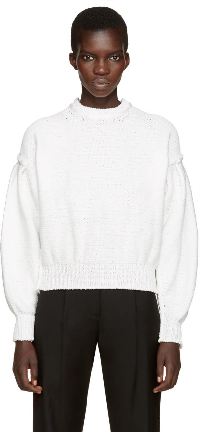 Mm6 Maison Margiela White Oversized Sweater