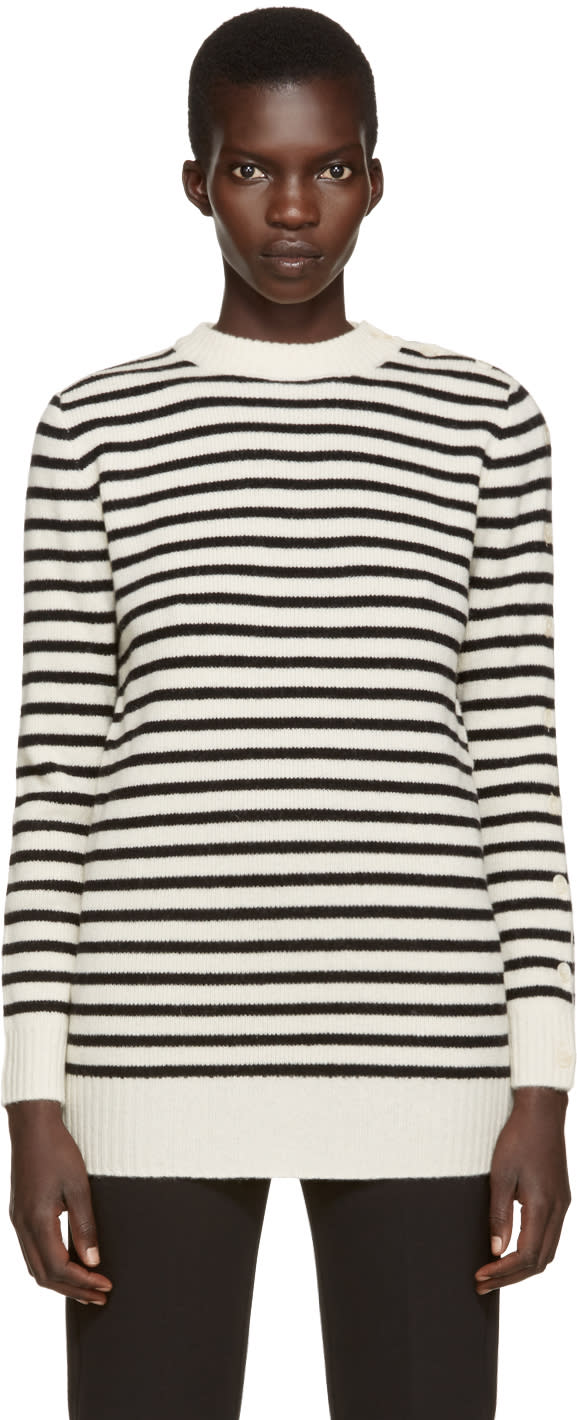 Mm6 Maison Margiela Off-white and Black Striped Sweater