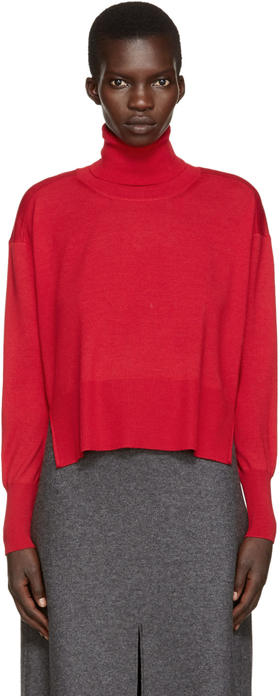 Mm6 Maison Margiela Red Wool Turtleneck