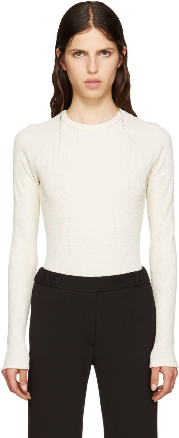 Mm6 Maison Margiela Off-white Waffle Cotton Bodysuit