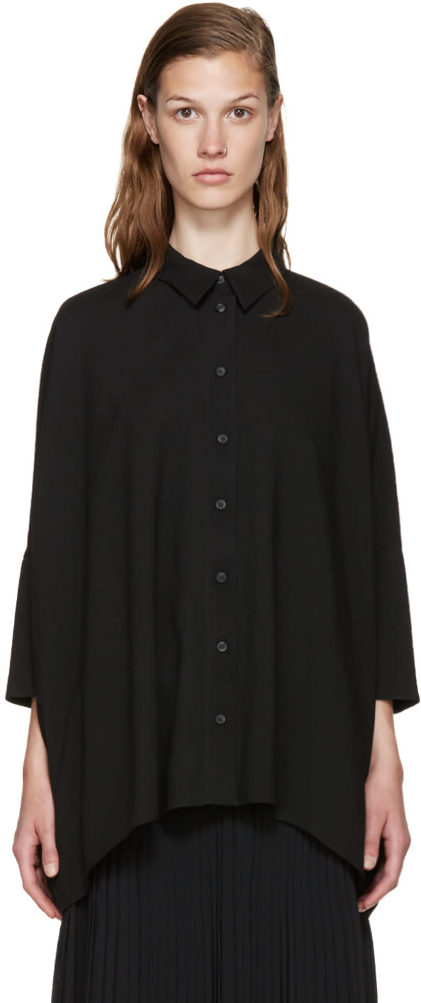 Mm6 Maison Margiela Black Viscose Shirt