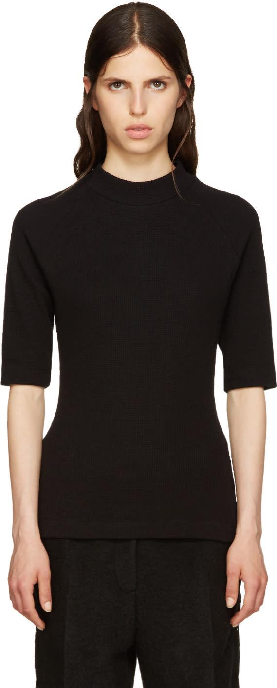Mm6 Maison Margiela Black Waffle Cotton T-shirt