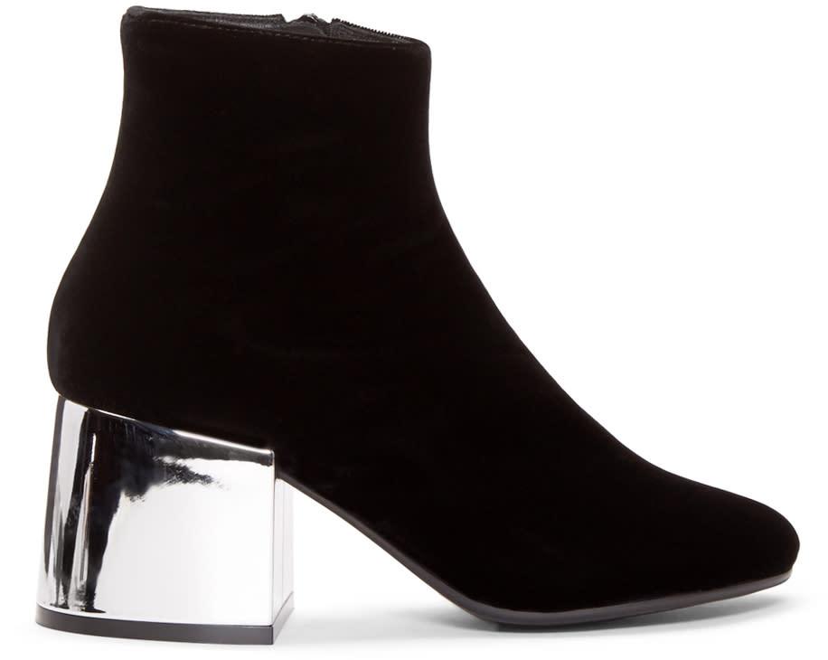 Mm6 Maison Margiela Black Velvet Metallic Boots